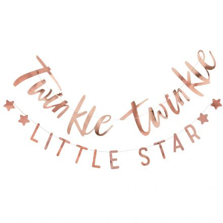 """Twinkle Twinkle Little Star"" Baby Shower Rose Gold Bunting"